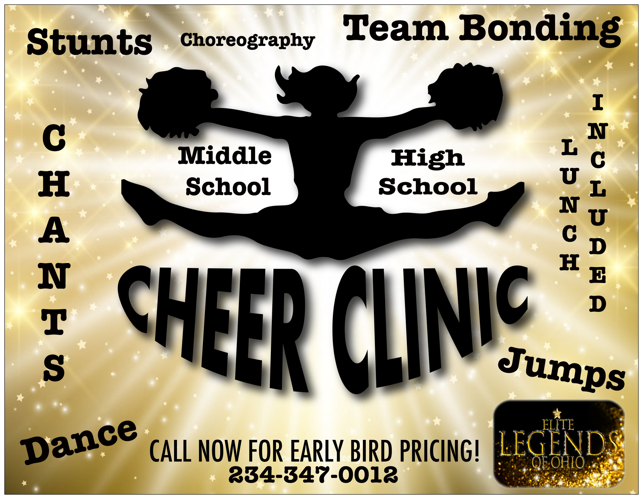 Book your teams 2 day Summer Cheer Clinic now! Early Bird pricing available. *Deposit Required.