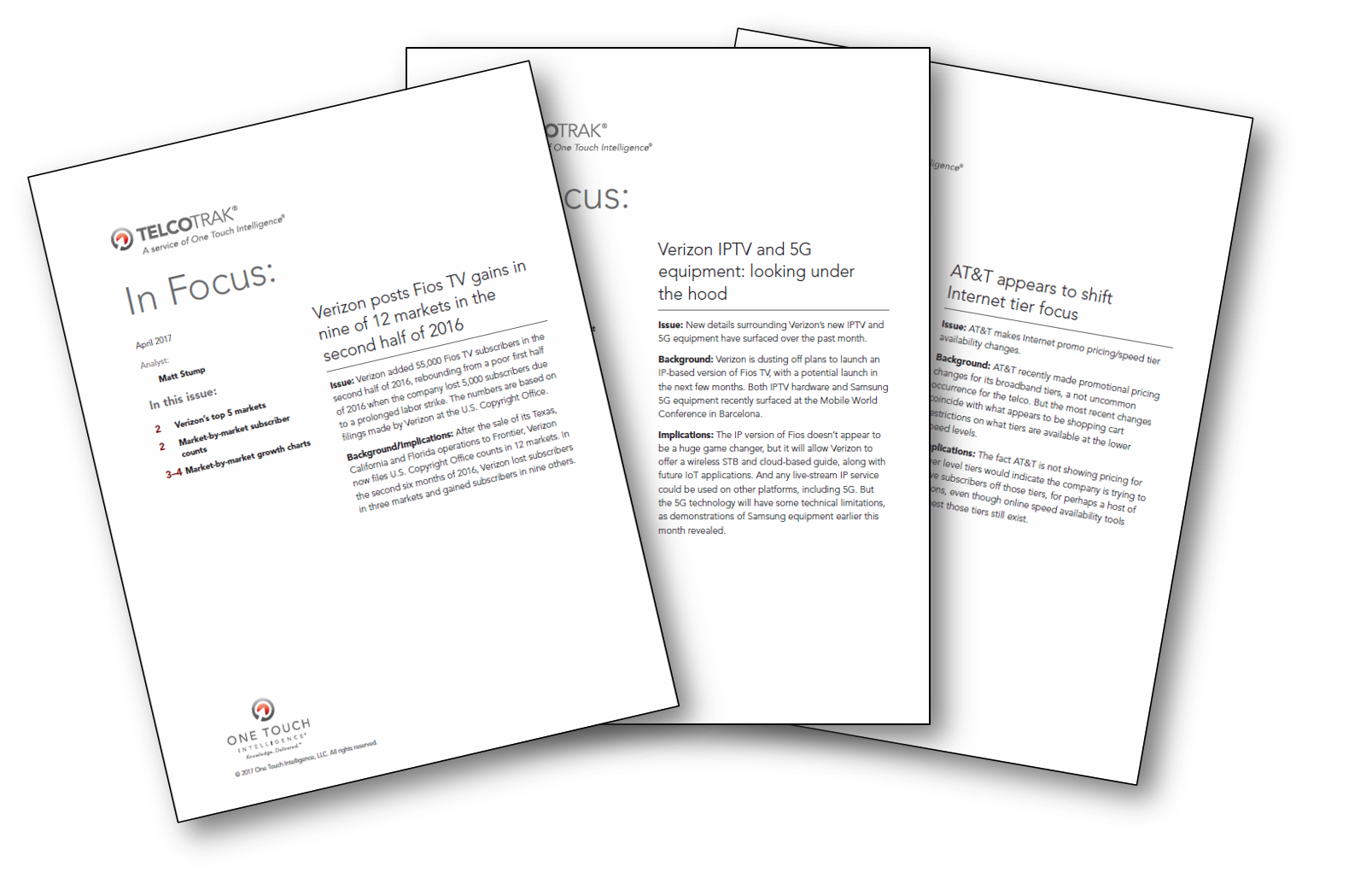 In Focus Series - Published monthly, these detailed reports support informed business decisions by examining individual products and marketing initiatives advanced by Telco providers.
