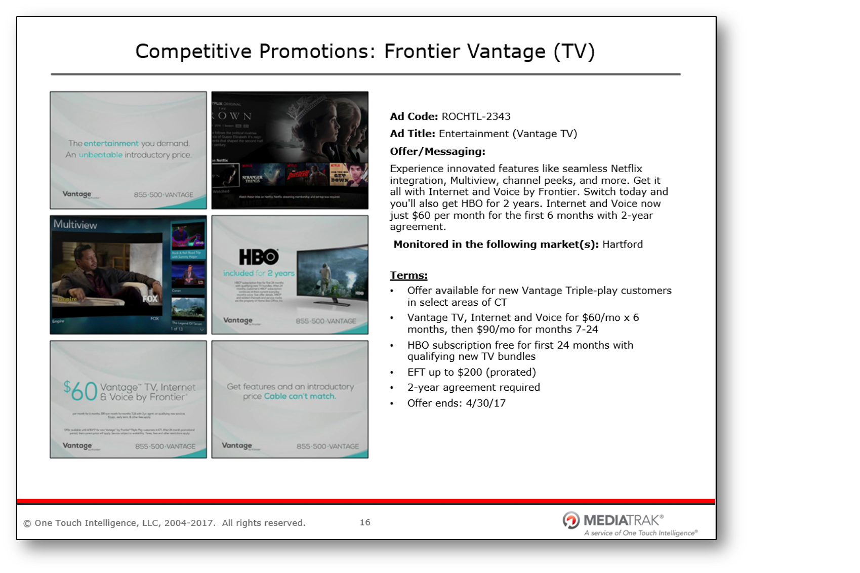 Promotional Reports - From summaries of key advertising messages to calendar views of ongoing promotions organized by competitor, OTI's Promotional Reports provide deep visibility into competitor marketing behaviors.