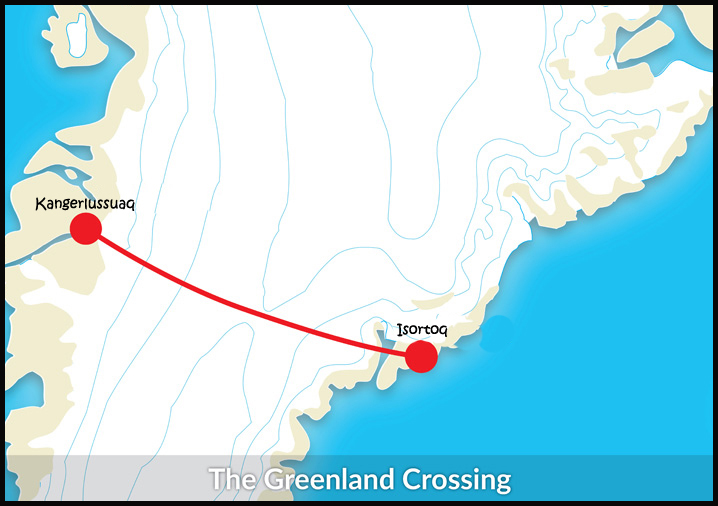 The Classic Greenland Crossing Route.