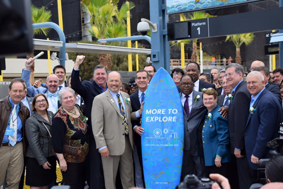 Mayor Tony Vazquez at the grand opening of the Santa Monica Expo Line