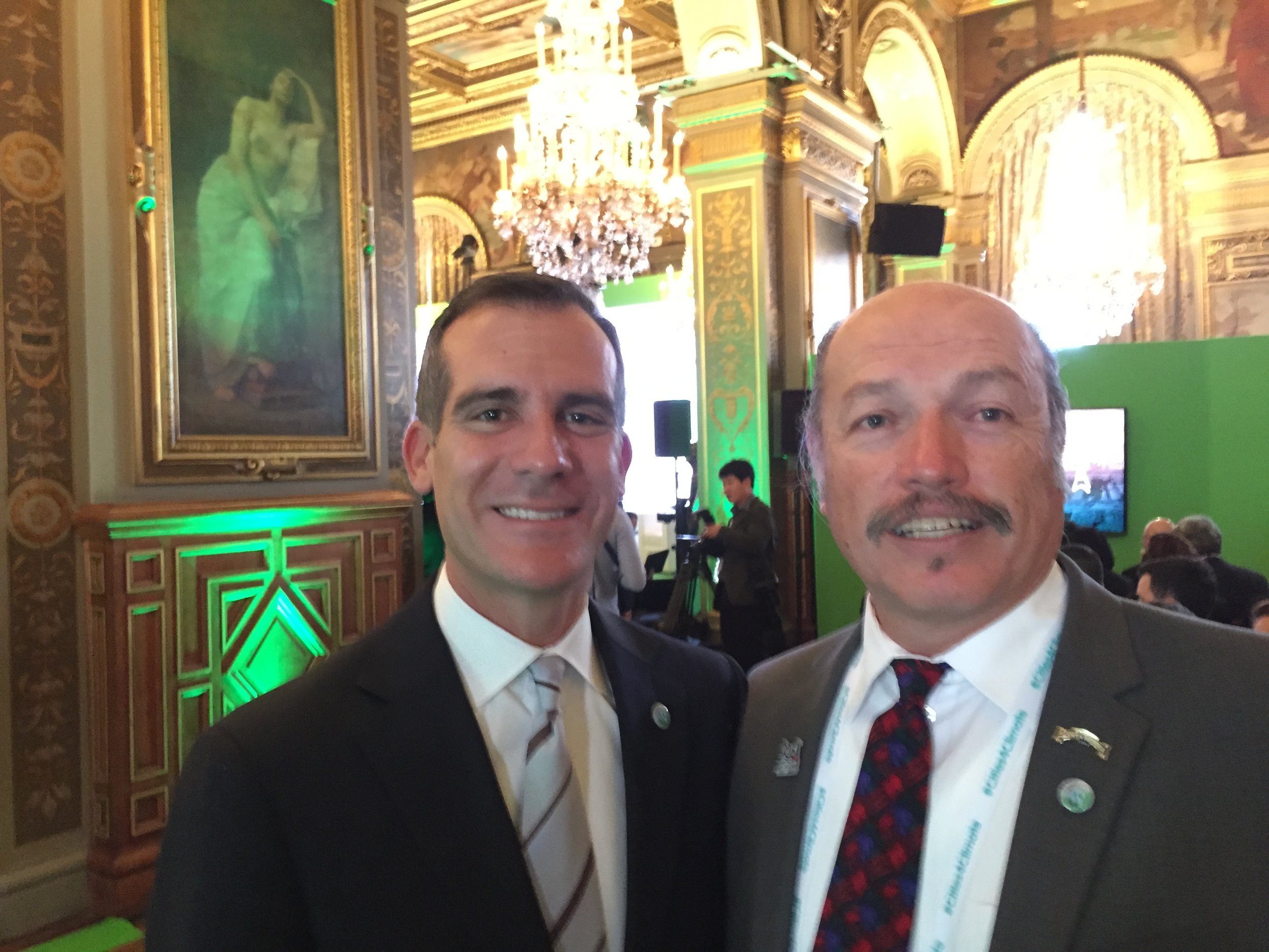 Mayor Tony Vazquez with Mayor Eric Garcetti of Los Angeles at the Paris World Climate Conference
