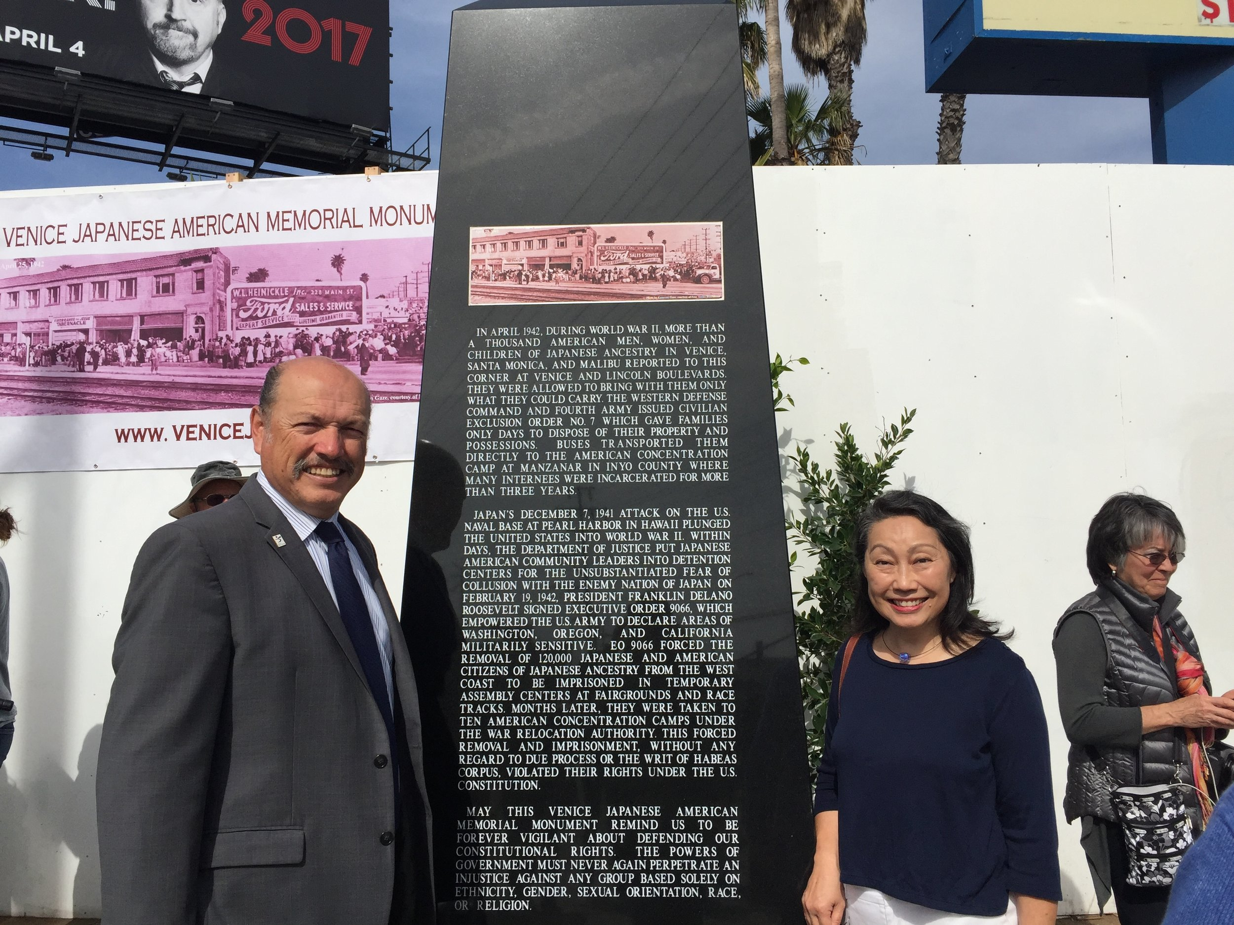 Tony at the dedication of the Japanese American Memorial in Venice, CA