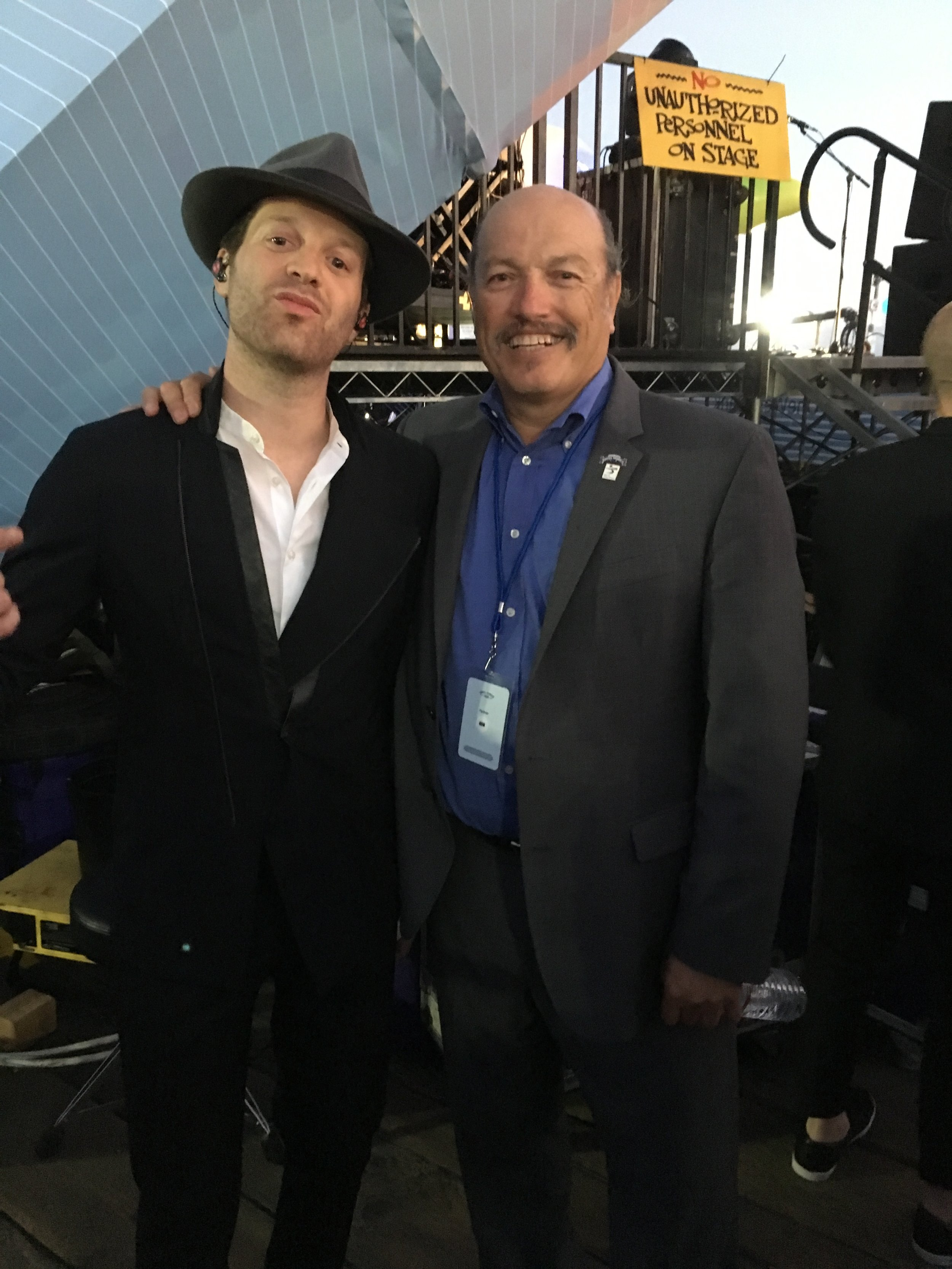 Mayor Tony Vazquez with Mayer Hawthorne at the opening night of the Twilight Concert series in Santa Monica, CA