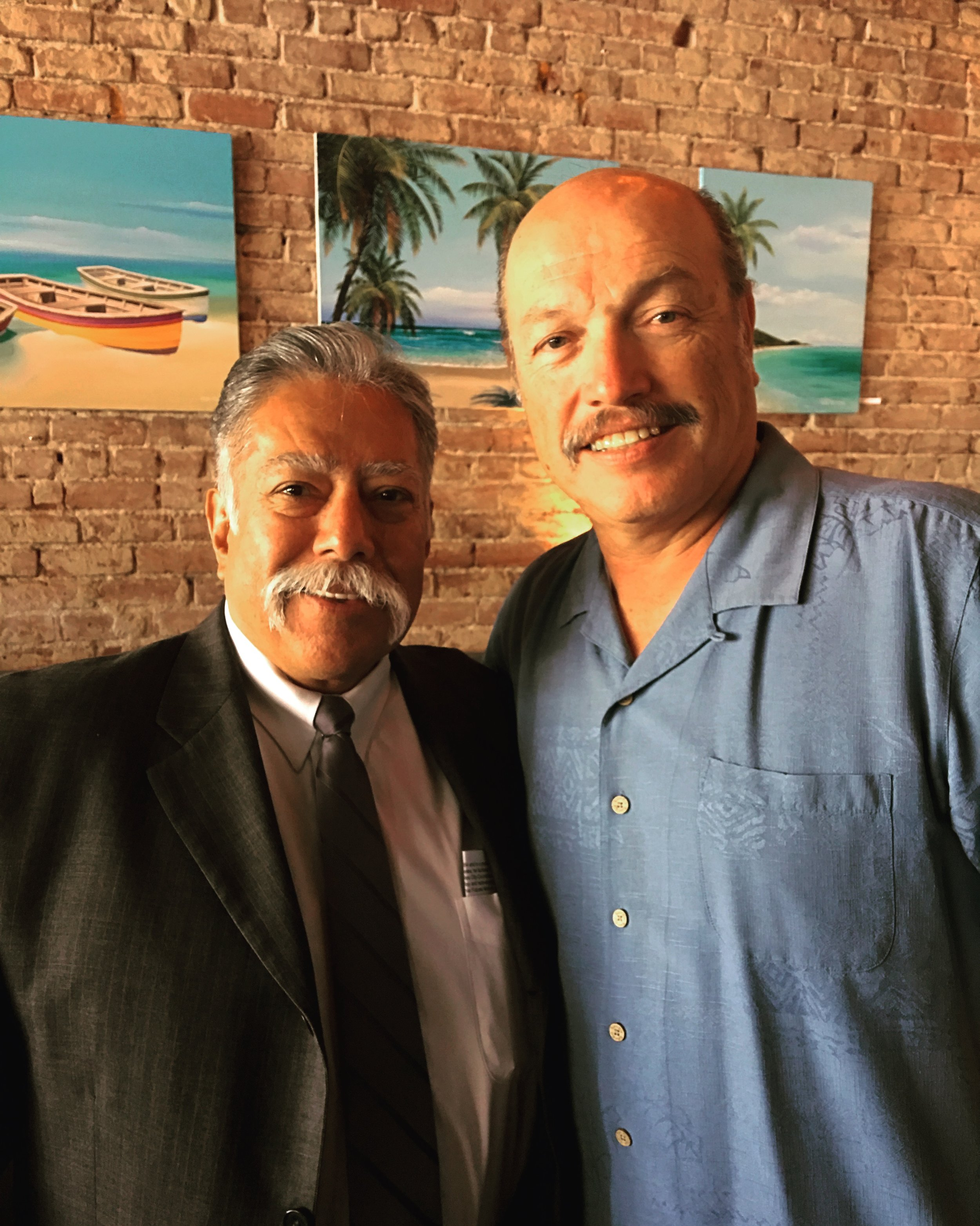 Long Beach City Councilmember Roberto Uranga and Tony at the Long Beach Democratic Club installation breakfast.