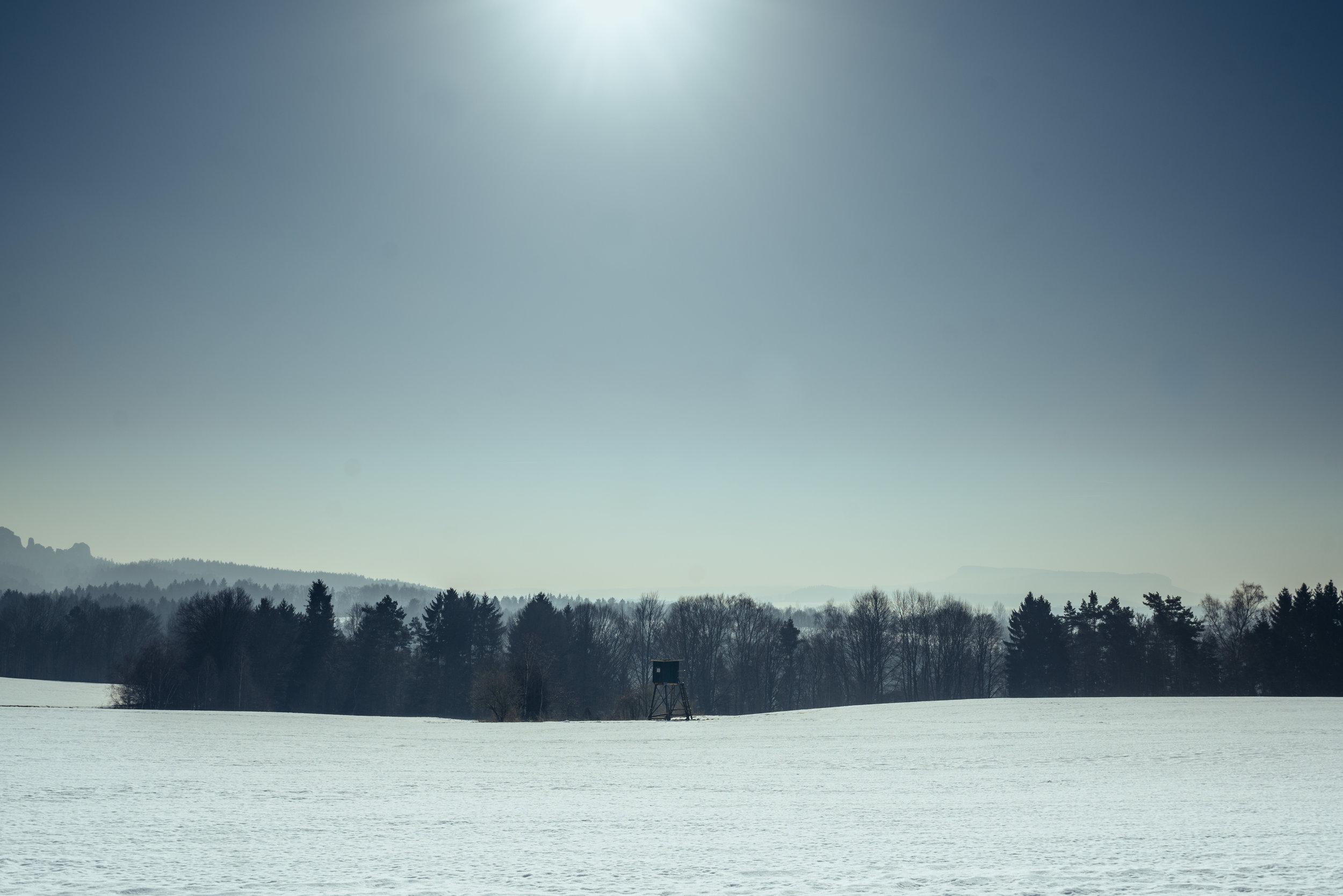 Distant mountains in Saxon Switzerland National Park