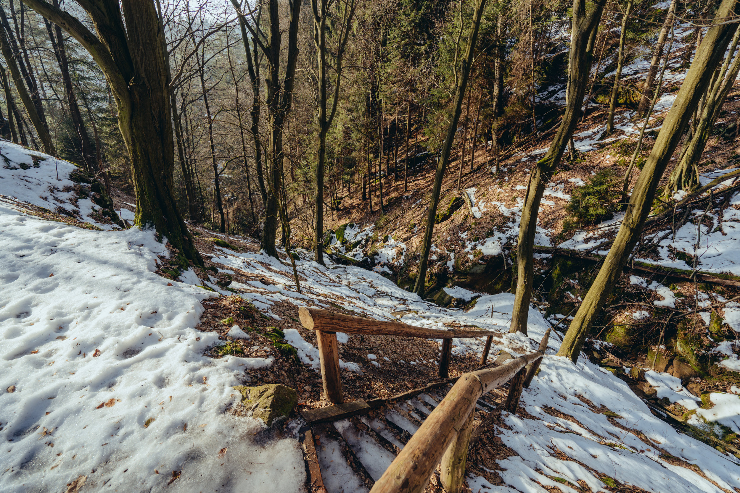 Icy staircase at Saxon Switzerland National Park