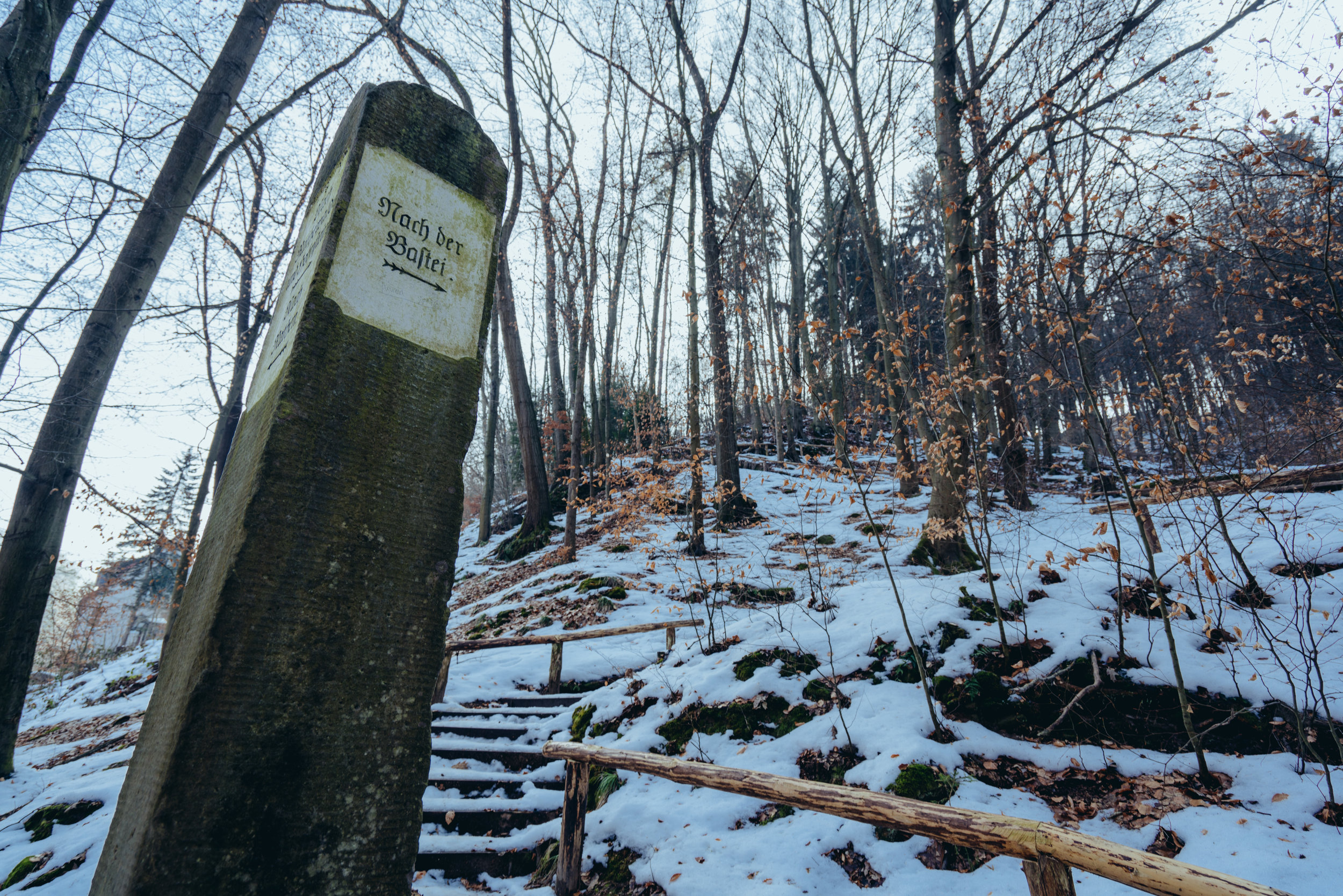 A signpost pointing to Bastei, Saxon Switzerland National Park