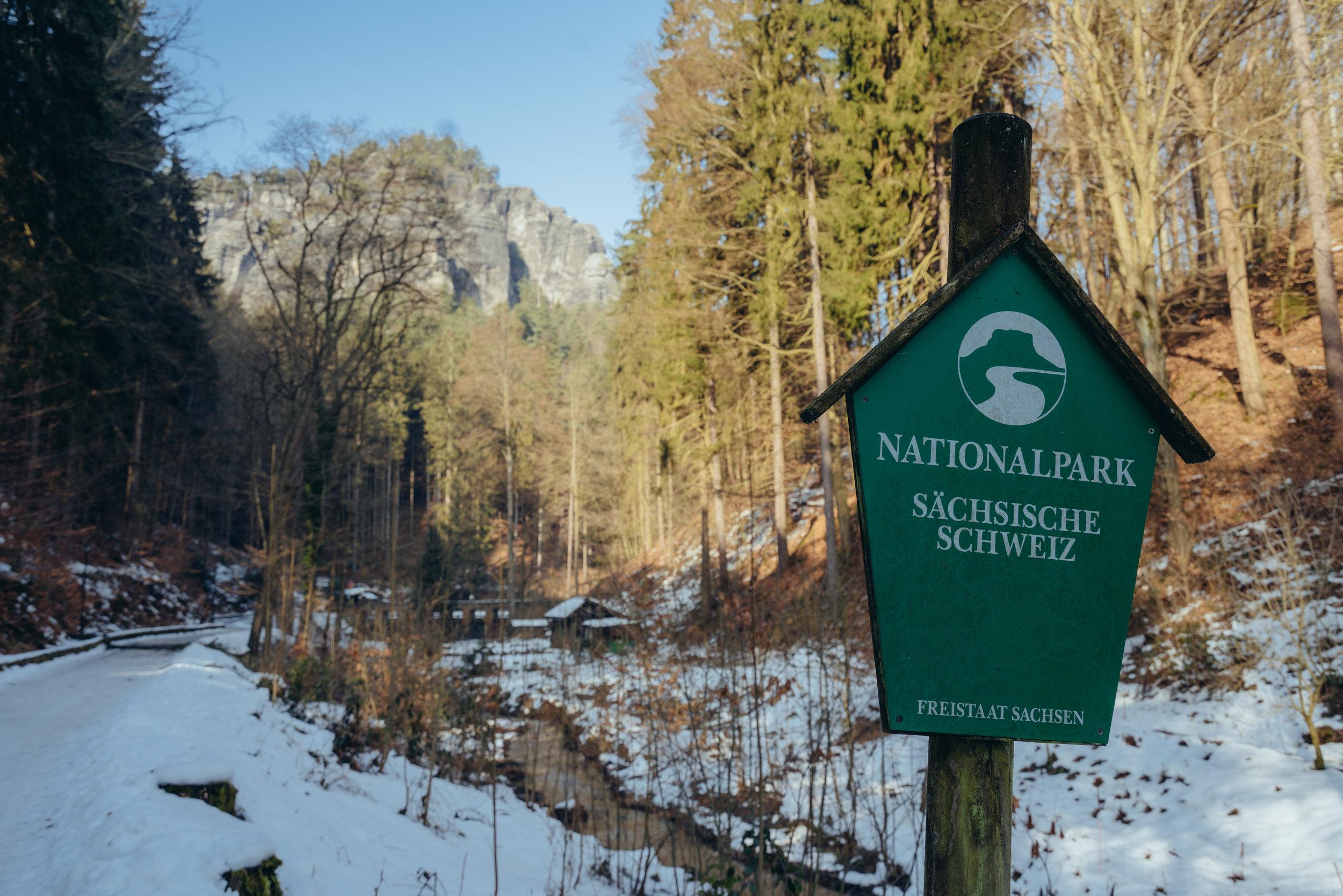 Signage for Saxon Switzerland National Park