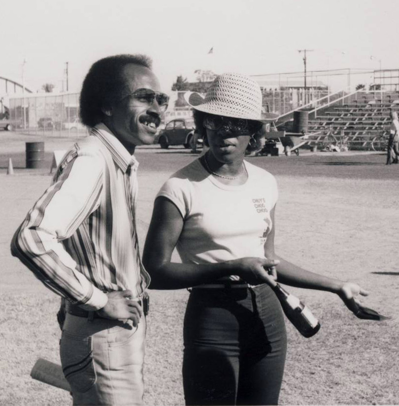Charles Lewis and Francine Reed at the No-Nukes Jazz Festival, Scottsdale Stadium, 10.28.79. Photo by Allan Chase.