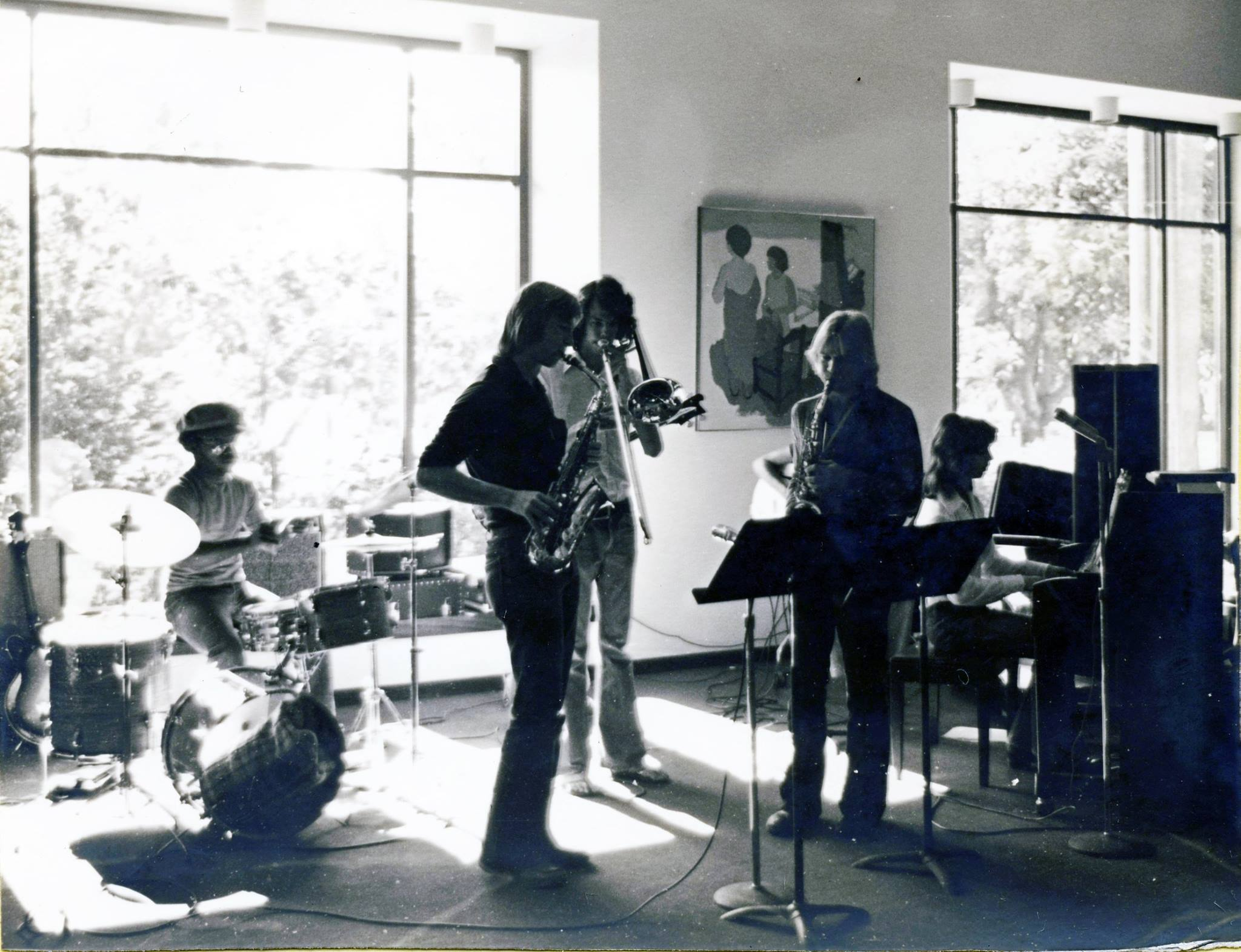 ASU Memorial Union, May 1977. L to R: Lewis Nash (drums), Dave Bennett (alto sax), John Wise (trombone), Allan Chase (alto sax), Dan Siemens (guitar), Brad Buxer (piano). Not in picture: Scott Reed (bass).
