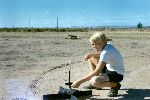 North Phoenix near 35th Avenue and Bell Road, ca. 1967. Besides music, I was into the outdoors and science hobbies like model rocketry and shortwave radio.