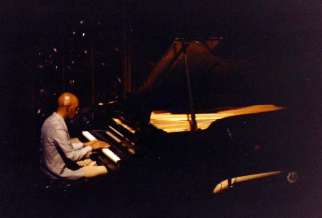 "Prince Shell playing his solo piano set at a concert produced by Lewis Nash and Allan Chase, ""An Evening of Creative Improvised Music,"" ASU Music Theater, Tempe AZ, 1.21.80."