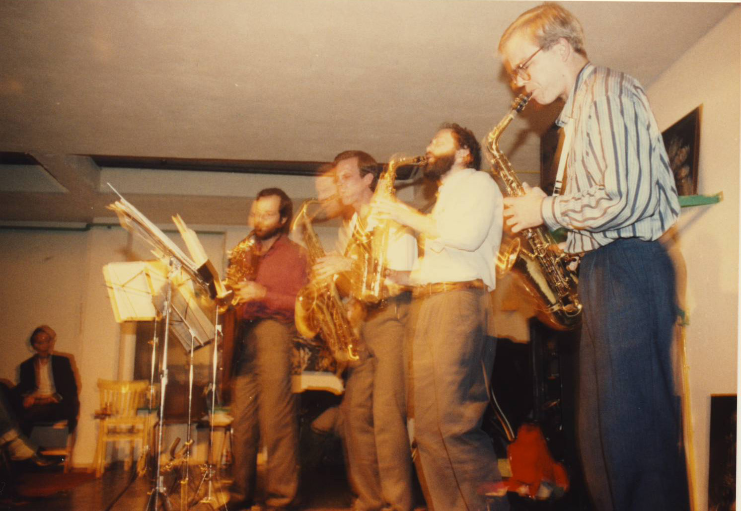 YNSQ live in Groningen, Netherlands on our first European tour, fall 1986. L to R: Steve Adams, Tom Hall, Bob Zung, Allan Chase.