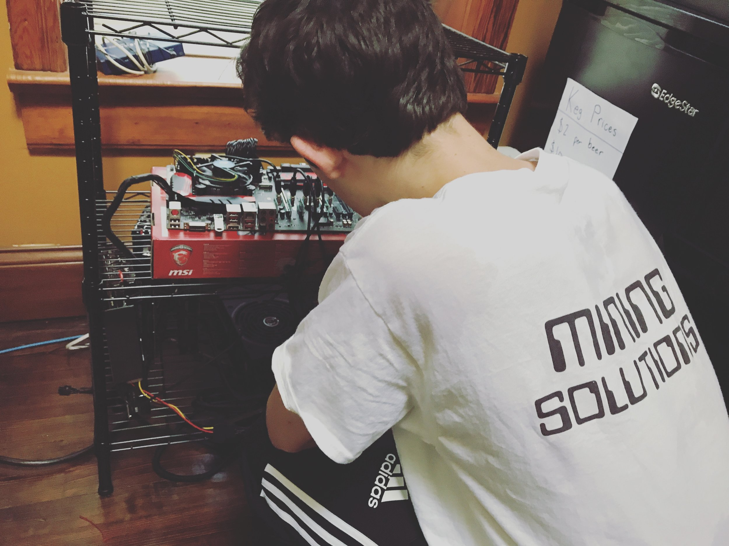CCG Mining Solutions manager working on a Zcash GPU miner.