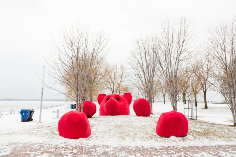 Toronto Life - A Giant Red Bear, a Bamboo Jungle Gym and Three Other Cool Art Installations That Just Popped up Along the Waterfront