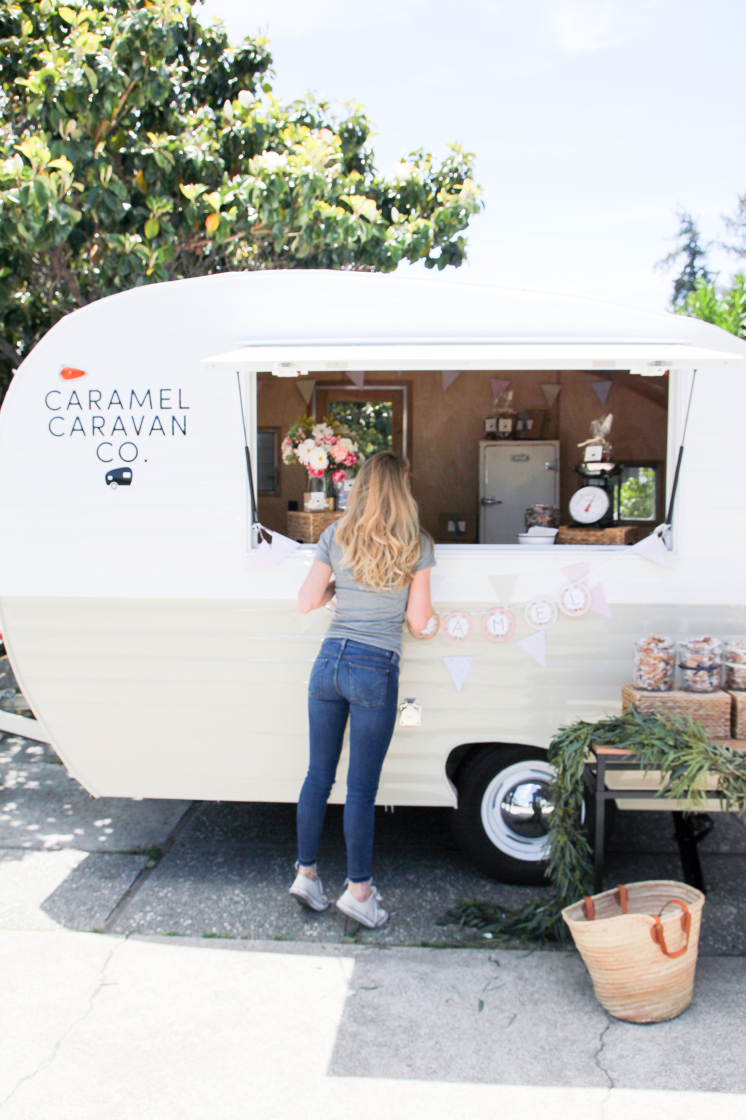 Courtney looking into Caramel Caravan
