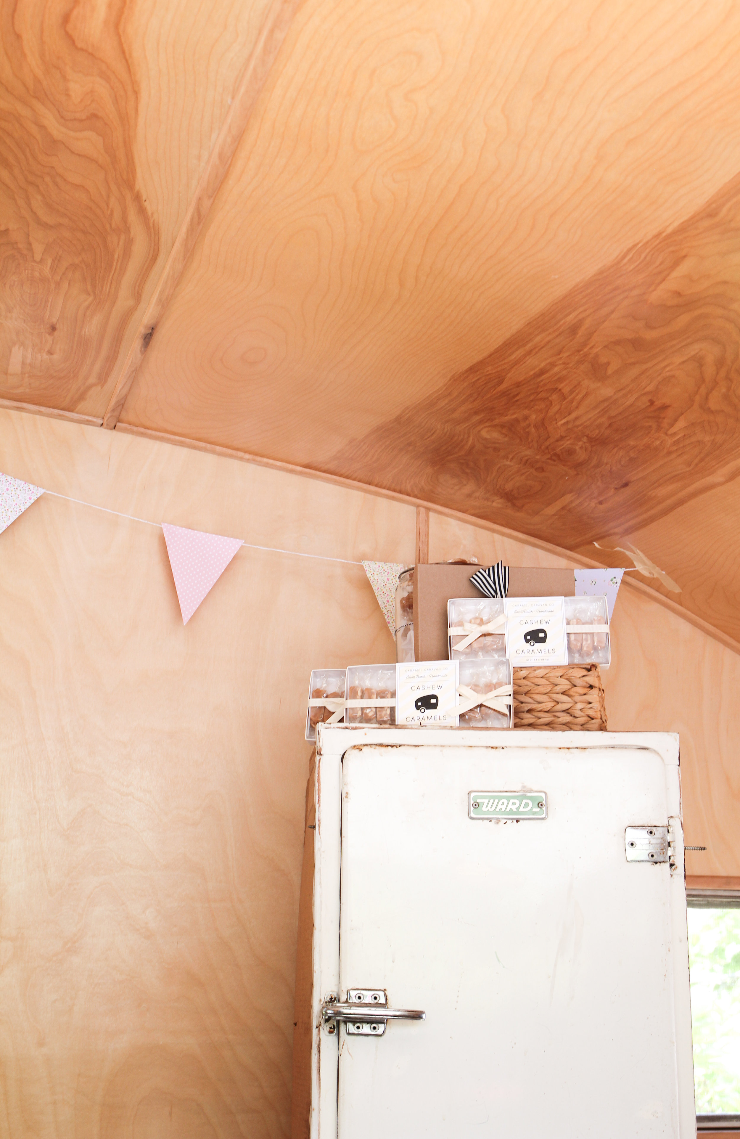 icebox in vintage trailer