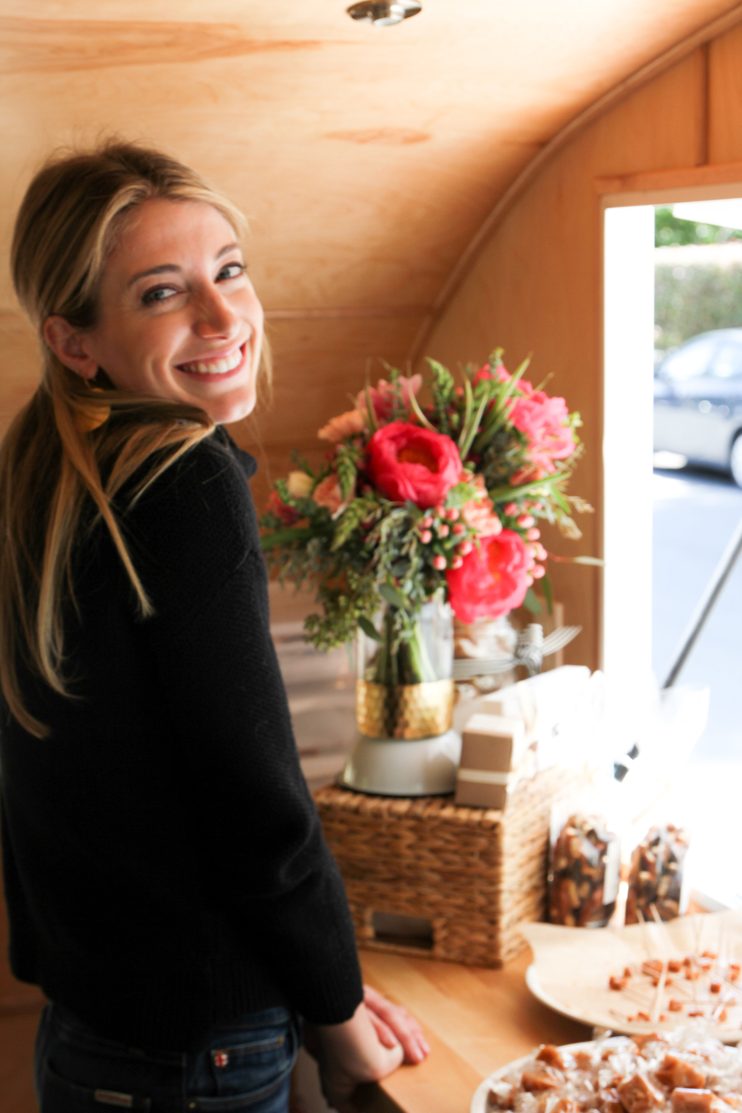 courtney and farmgirl flowers in trailer