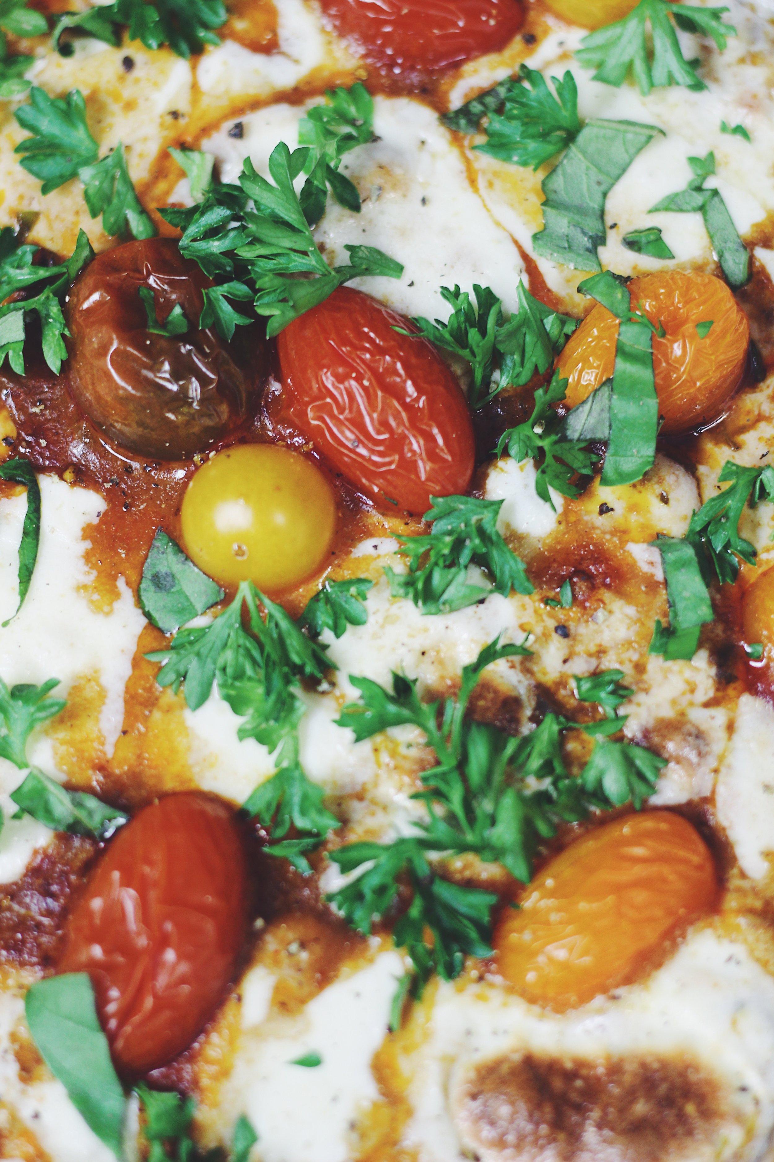 mozzarella bake, vegetarian dinner, summer dinner, heirloom tomatoes
