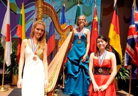 Pictured left to right Vasilisa Lushchevskaya, Russia (Bronze Medalist),Agnes Clement, France (Gold Medalist), Rino Kageyama, Japan (Silver Medalist)