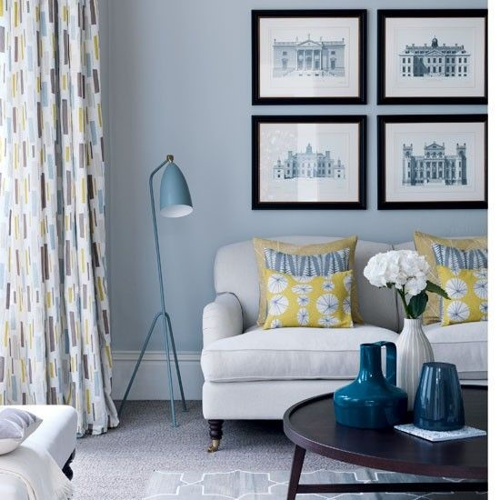 Lemon yellow and pale blue - pure elegance