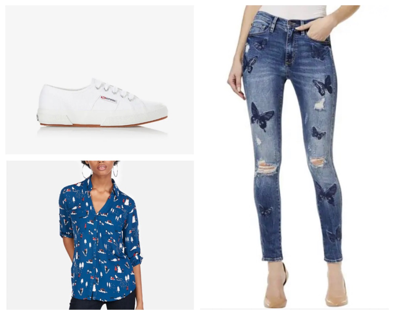 Butterfly jeans ($118.00) with some classic white Superga Sneakers ($65.00) and a printed shirt ($59.90)- typical Zoey Johnson! All available on our app