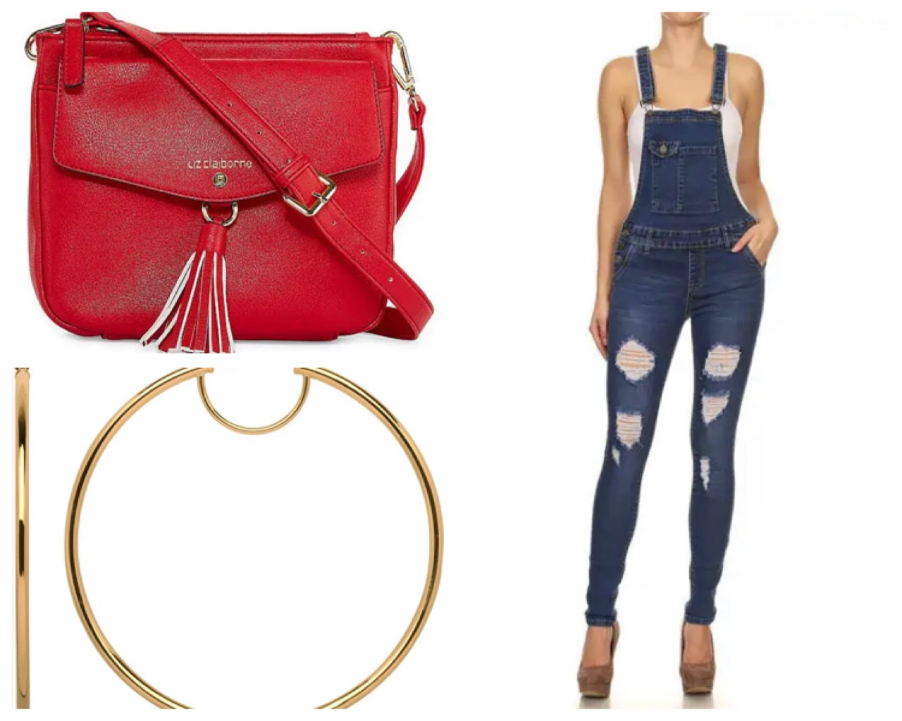 Combine the cute denim overall ($41.75) with a red leather bag ($50.00) and some oversized yellow hoop-earrings ($62.99) All available in our app