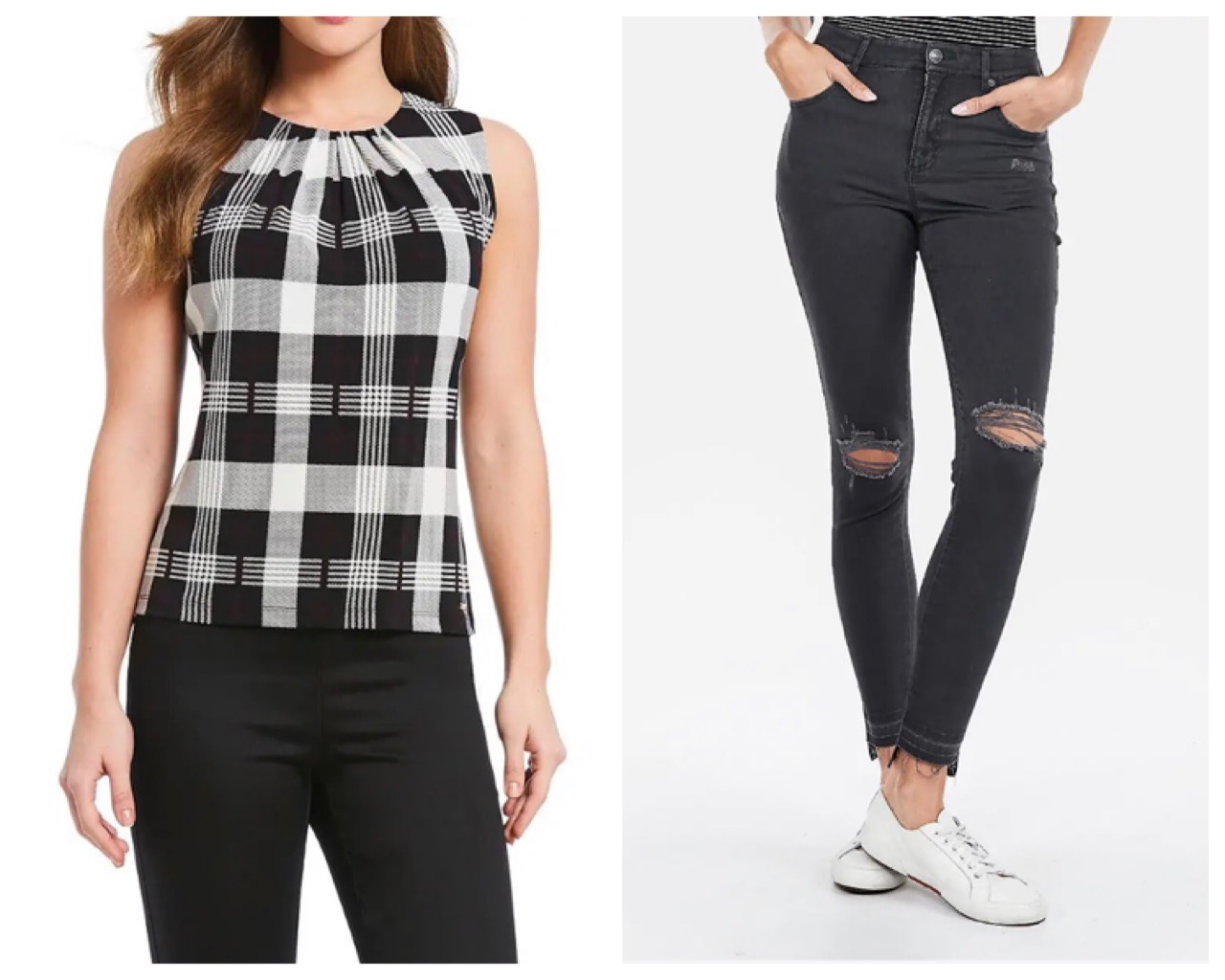 More the black and white type? No problem! Combine this super cute checked top ($39.00) with some black ripped jeggings ($69.90) All available on our app