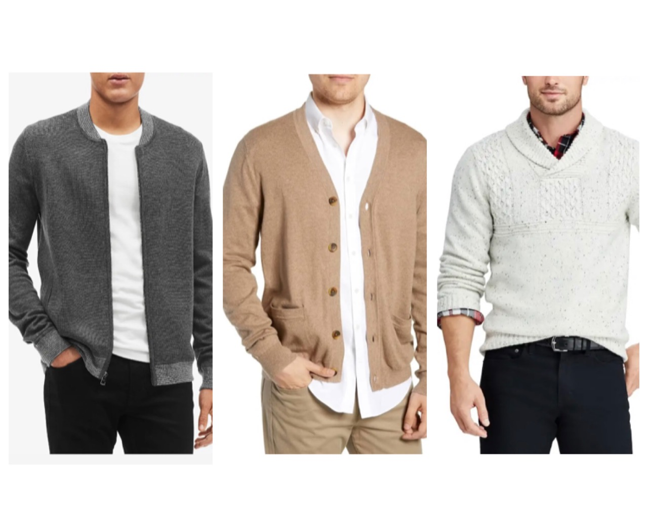 Dre's classic sweater & cardigan combined with dark blue or black jeans or khakis.  All available on our app.