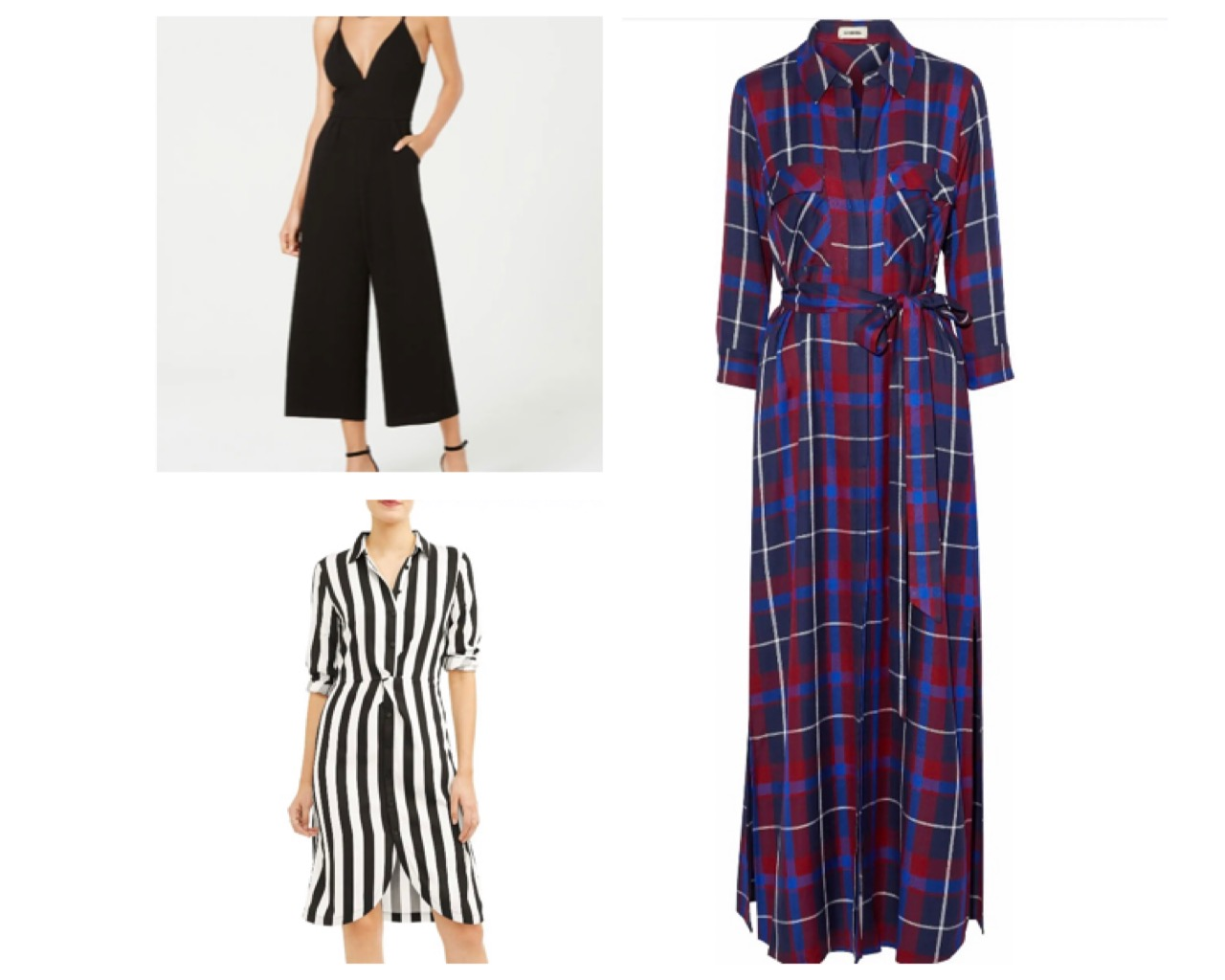 We love dresses or jumpsuits, just slip on some heels or flats and tada, simple but chic outfit. Available in our app