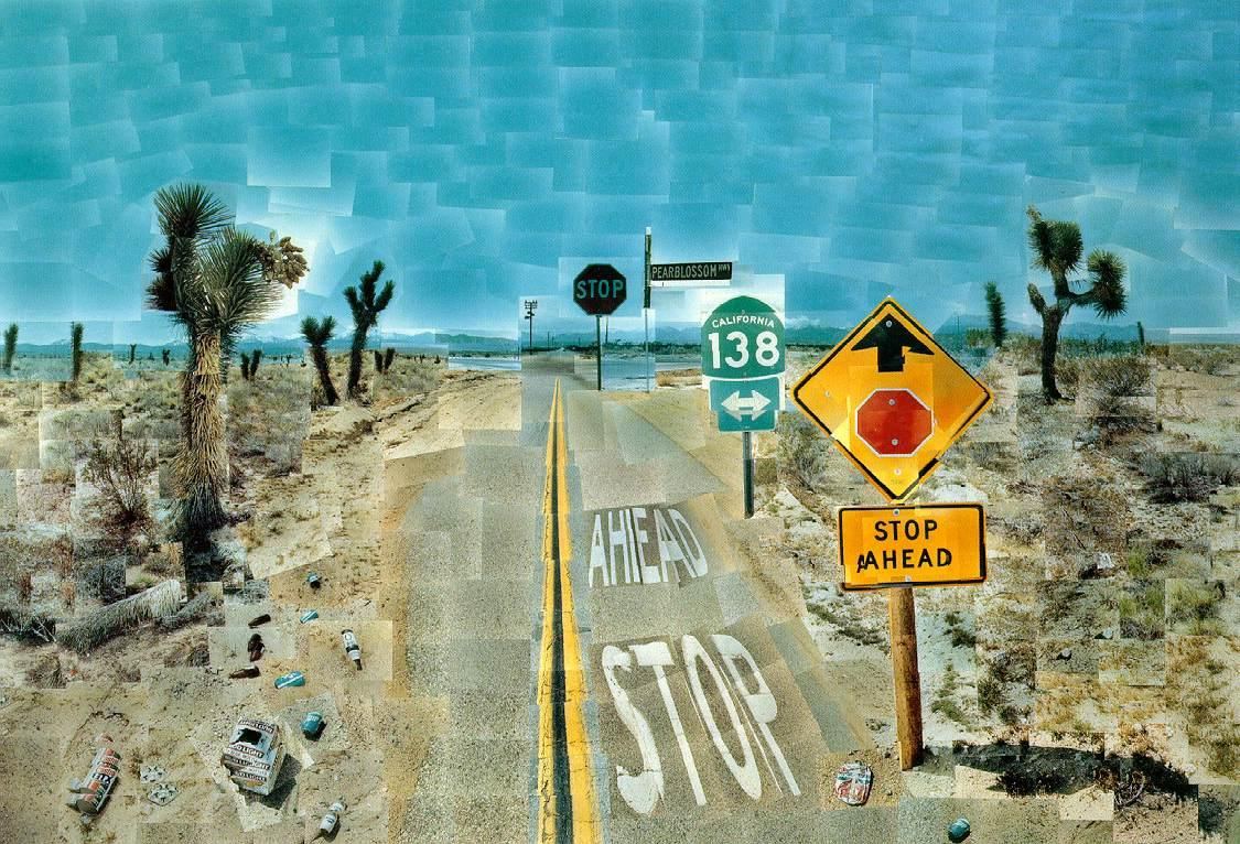 "David Hockney "" Pearblossom Hwy., 11 - 18th April 1986, #2 ,"" Photo-mosaic, 71.5 × 107 in"