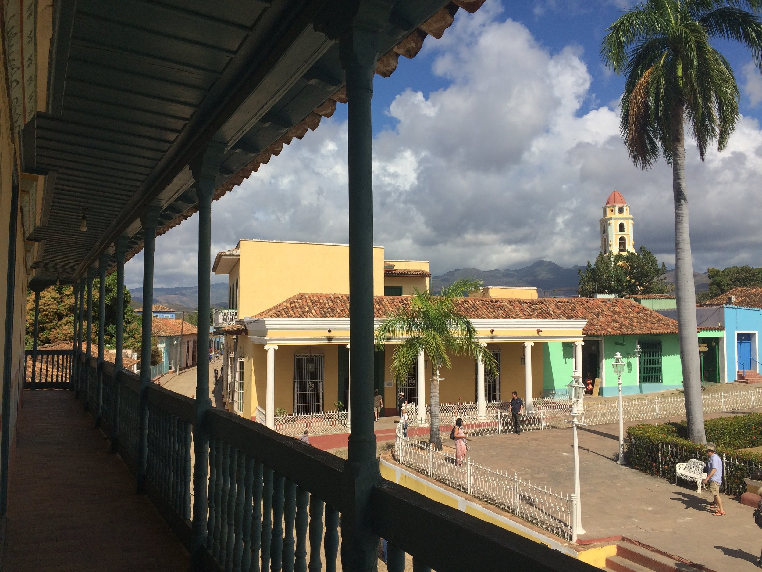 The view from the museum's 2nd floor in Plaza Mayor in the historic center of Trinidad de Cuba