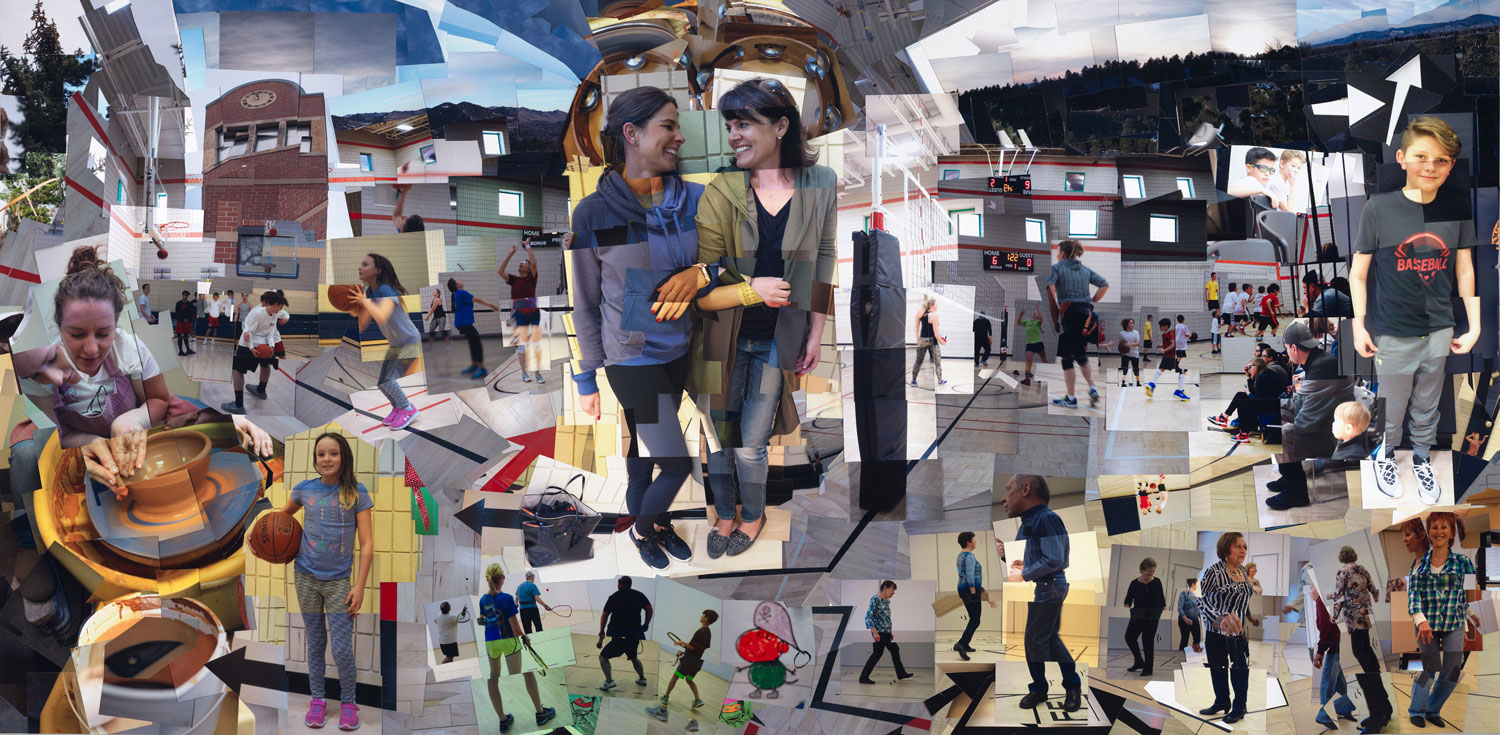 """""""Chilson: People at Play,""""  2018, photo-mosaic, 48x96 inches"""