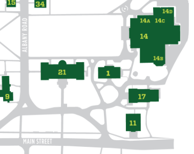 Deerfield Academy Campus Map (14a is the Gallery)