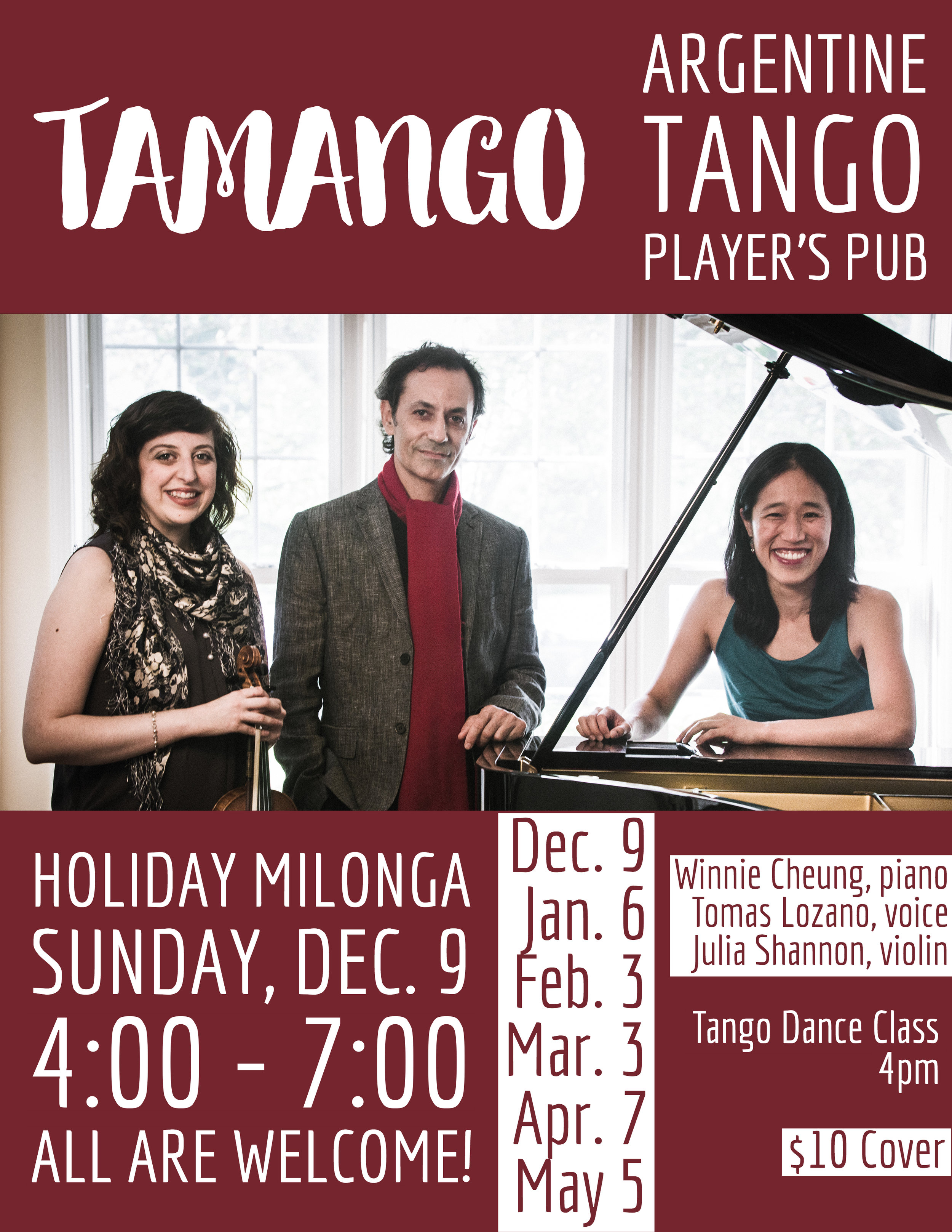 - Join us for our regular monthly milonga at the Player's Pub and celebrate the holiday season!