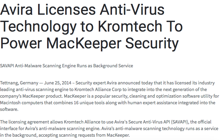 https://mackeeper.com/blog/post/5-avira-licenses-anti-virus-technology-to-kromtech-to-power-mackeeper-security