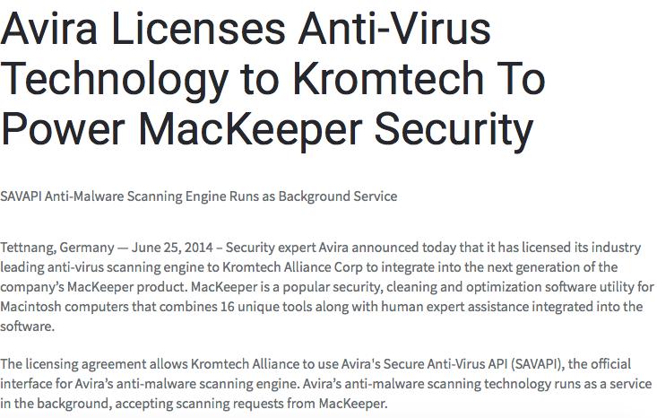https://mackeeper.com/blog/post/5-avira-licenses-anti-virus-technology-to-kromtech-to-power-mackeeper-security
