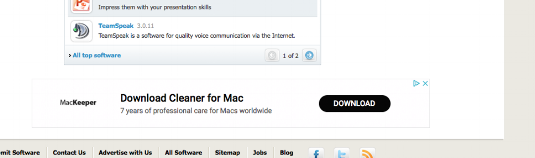 MacKeeper ad on the bottom of the Soft32 website.
