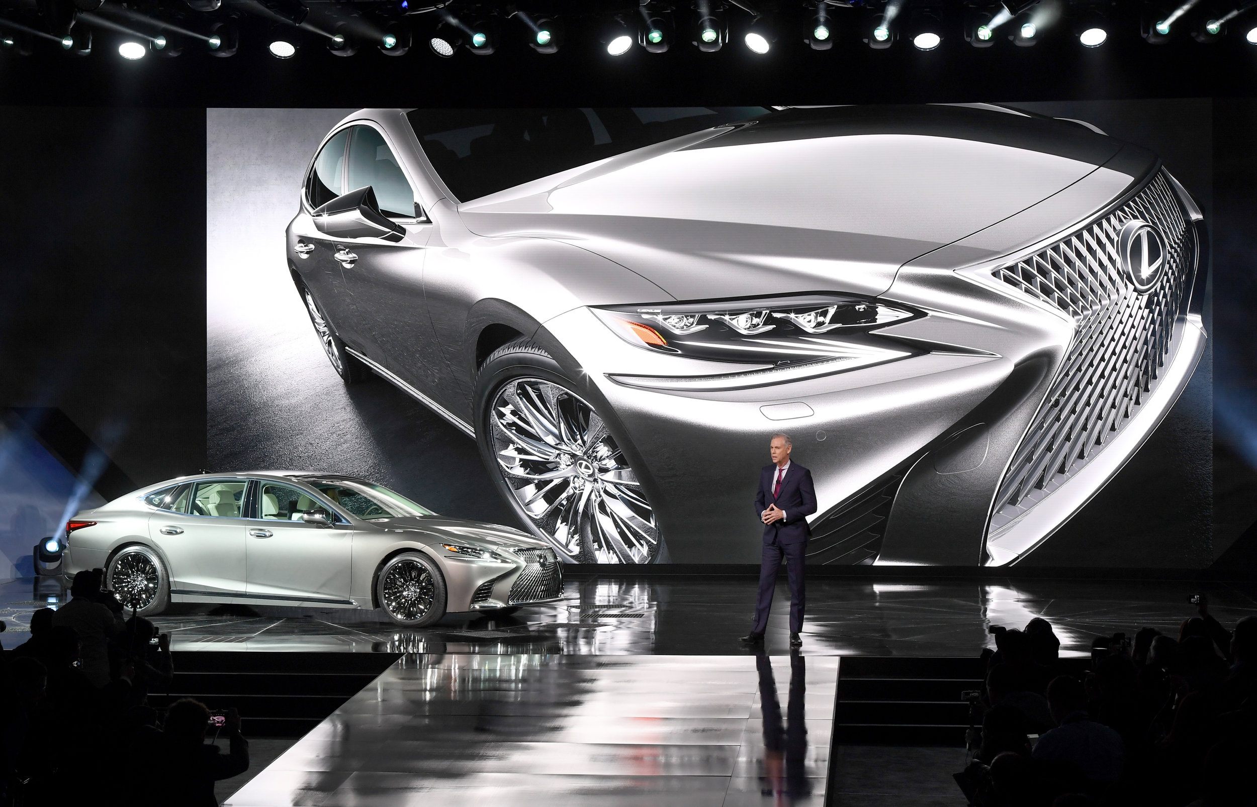 Detroit International Auto Show  Lexus 500 reveal stage and press riser