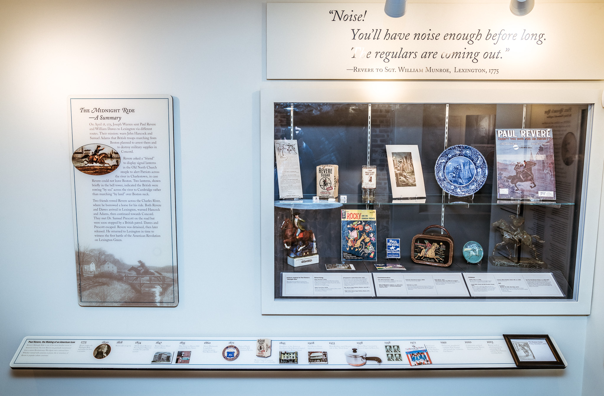 An airtight, built in display case with depictions of Revere's ride throughout history.