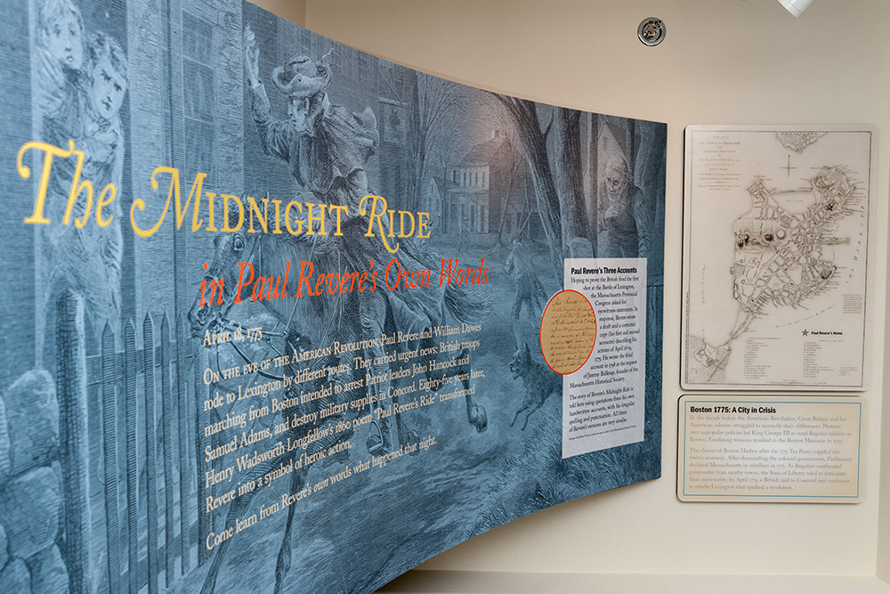The new Center's exhibits provide visitors with an enhanced knowledge of Paul Revere's ride, the Revolution, and Revere's career as a silversmith and early industrialist.