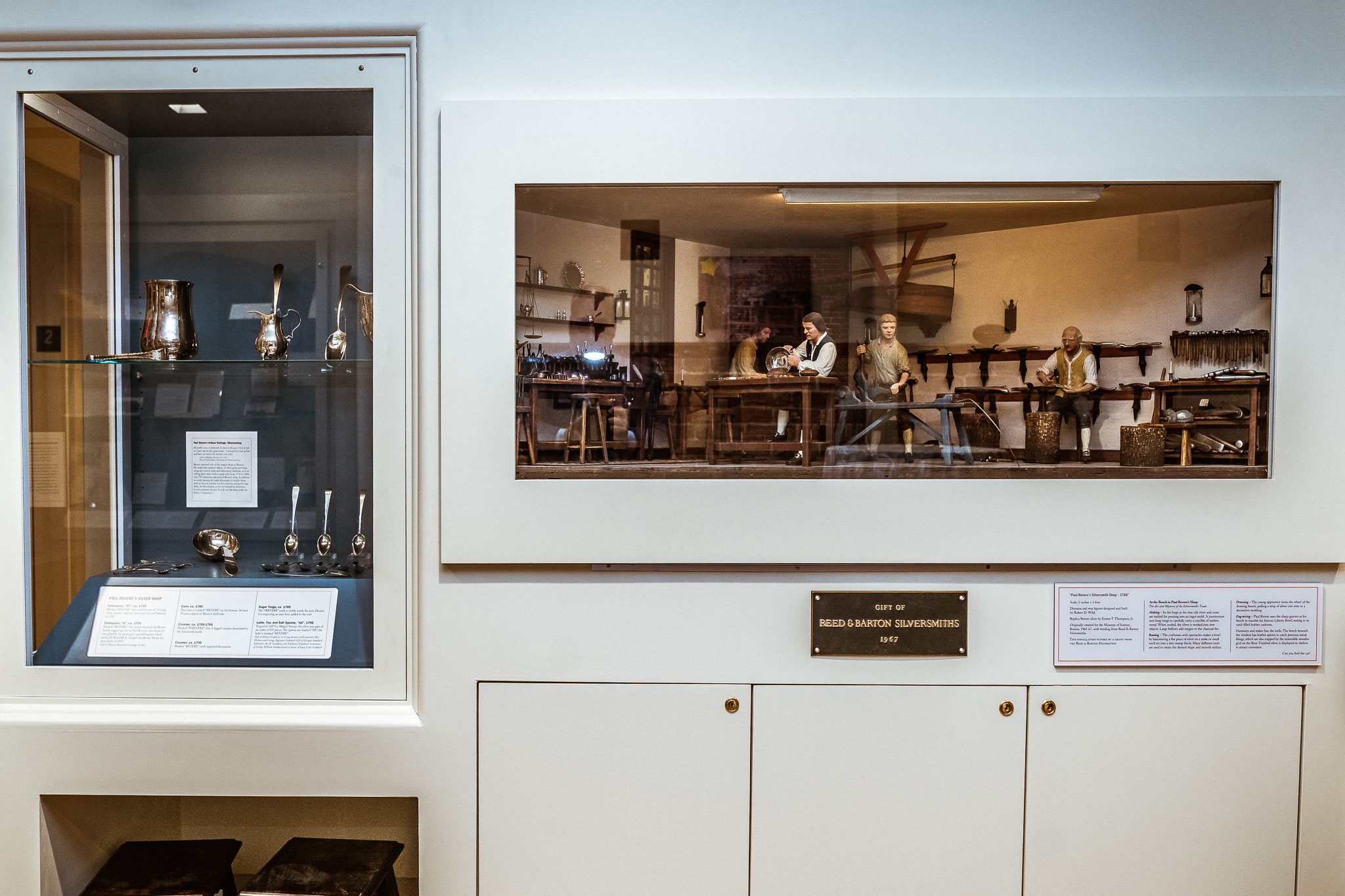 An airtight, display case full of original Paul Revere silver as well as a diorama of Revere's silver shop. This diorama was on display at the Museum of Science in Boston for many years.