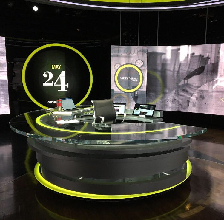 Studio Z has multiple anchor desks to allow it to serve as a multi use studio for various segments and sharing its duties between  Outside the Lines  and  E:60