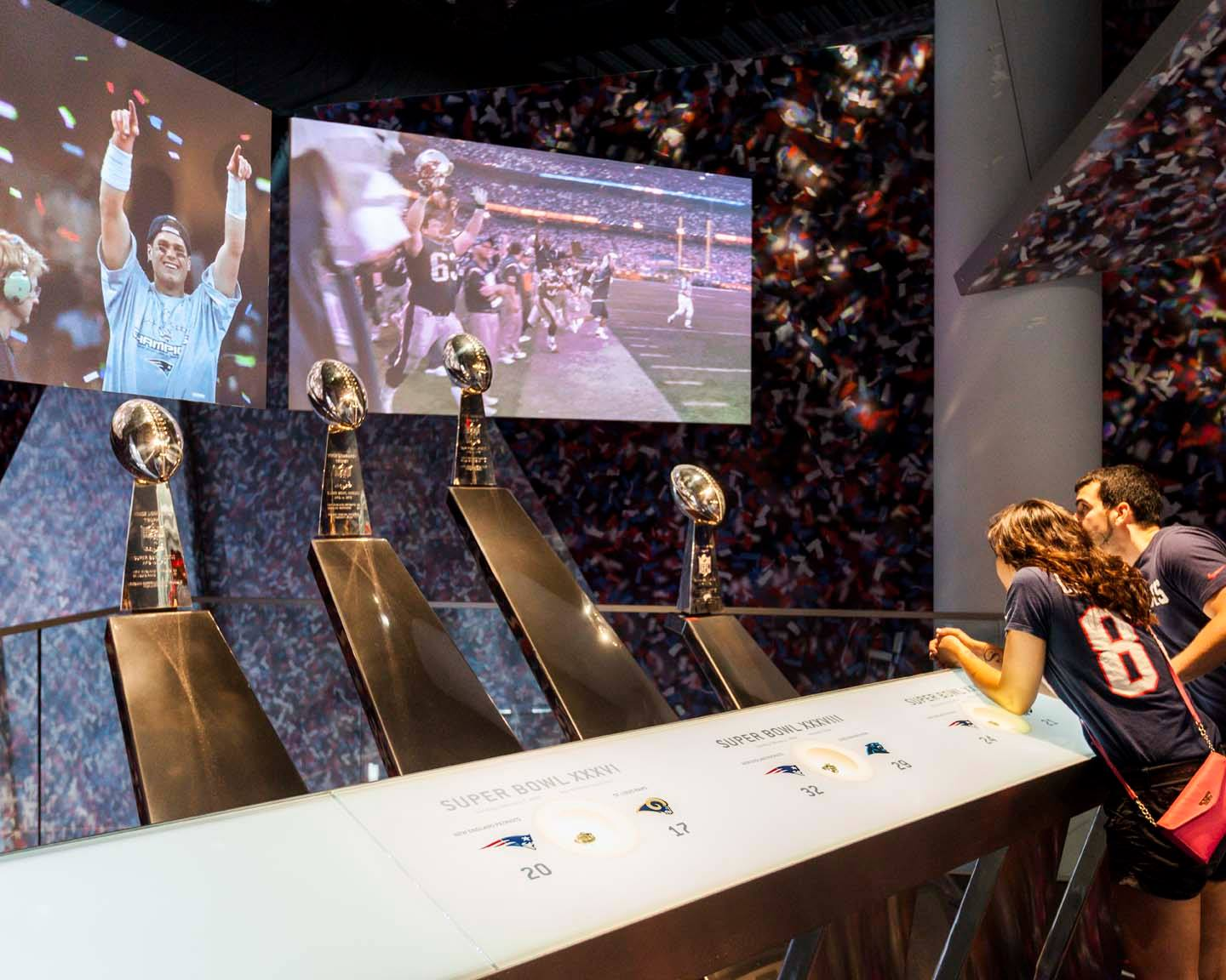 Patriots Hall of Fame:  Display cases, trophy display and decoder panels