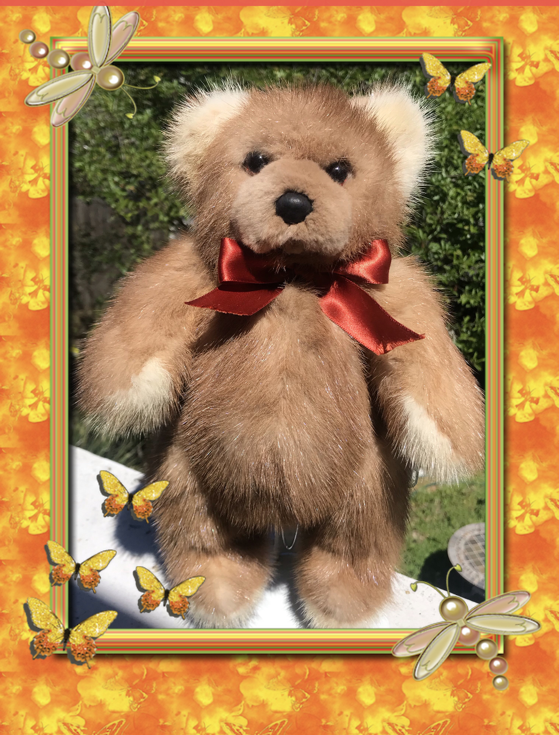 This Custom Teddy Bear was made from a Vintage Autumn Haze Mink Coat!