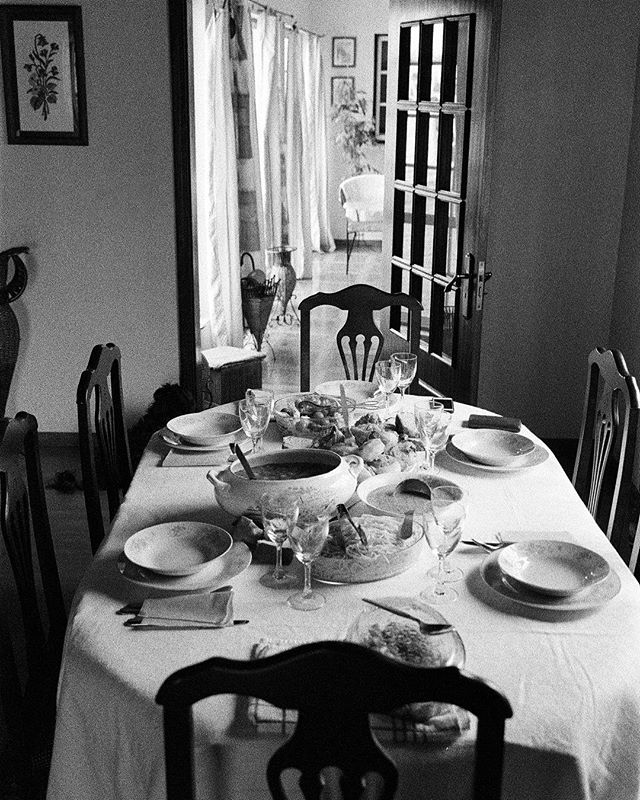 """Birthday lunch for my 29th birthday at my aunt's house in Portugal.⠀ I'm the type of person who has always gotten the birthday blues, although this lunch experience was incredible, i feel this image encapsulates what I was feeling on the inside.  Part of my series - """"Saudade"""" ⠀ #leica #35mm #kodakprofessional #tmax3200 #leicam4p """