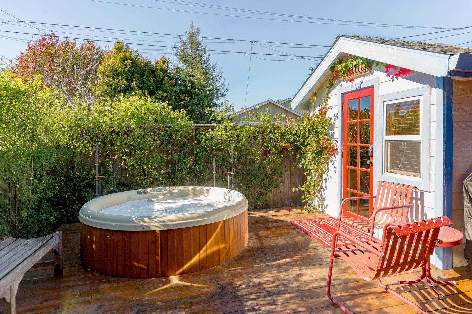 Sunny Backyard with Deck and Hottub Lower Westside