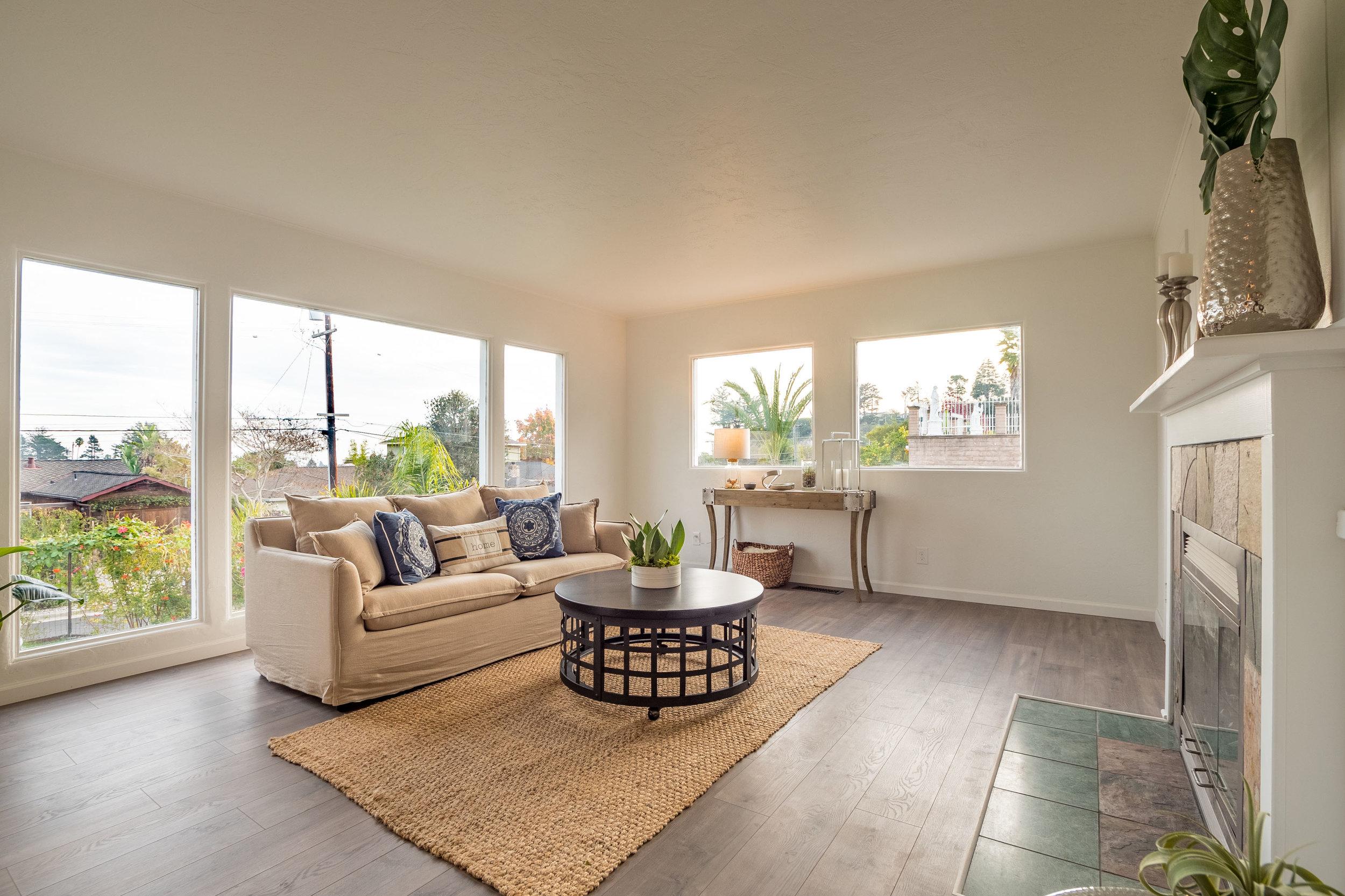 Living Room with Fireplace Santa Cruz Home