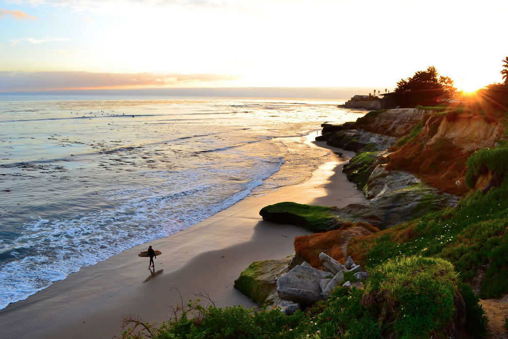 pleasure point beach - Pleasure Point beach is located off East Cliff Drive, a set of stairs takes you down to the bottom of the bluff where, depending on the tide, you'll find a sunny slice of sandy heaven. The beach is dog friendly and also has tide pools to explore.